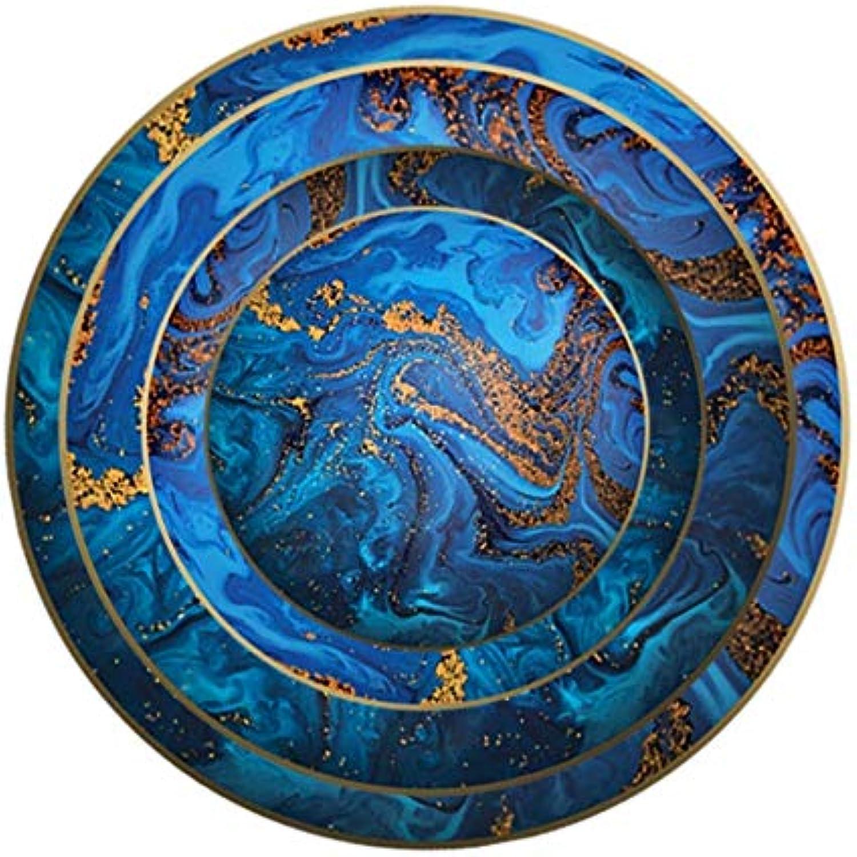 KTH Set de 4 assiettes en porcelaine bleu disque en céramique plaque de restaurant sable rapide