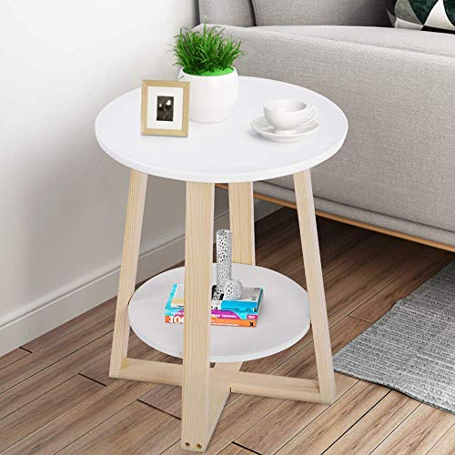 2 Tiers Round Side Table Small Coffee Table Corner End Table Wooden Couch Sofa Bedside Table Nightstand with Wood Legs for Living Room Bedroom White 40 × 40 × 50.5 cm