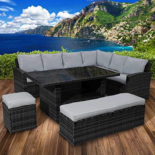 BRAST Poly-Rattan Sitzgarnitur Gartenmöbel Essgruppe Lounge Sitzgruppe ECO 9 Personen Schwarz/Grau