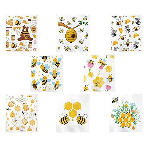 Juego de 8 paños de microfibra para cocina, suaves, superabsorbentes, con adorables patrones de abejas, para vajilla, mostrador, limpieza del cuarto de baño, 17,5 x 19,5 cm