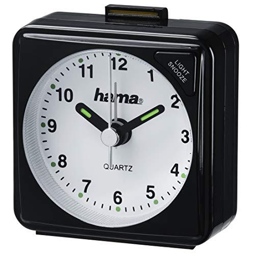 Hama analoger Wecker inkl. Batterie (batteriebetriebener Reisewecker mit schneller werdendem Alarm und Schlummerfunktion, Wecker mit Licht, fluoreszierender Stunden- und Minutenzeiger) schwarz