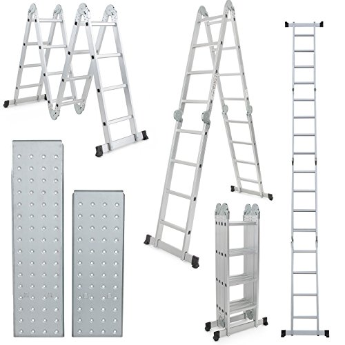 Comie 15.5ft Multi Purpose Aluminum Folding Step Ladder Foldable Lightweight Scaffold Ladder W/2 Plate