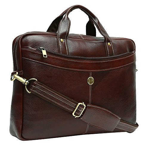 Hammonds Flycatcher 15.6 inch Genuine Leather Office Messenger Laptop Organizer Bag (Brown)