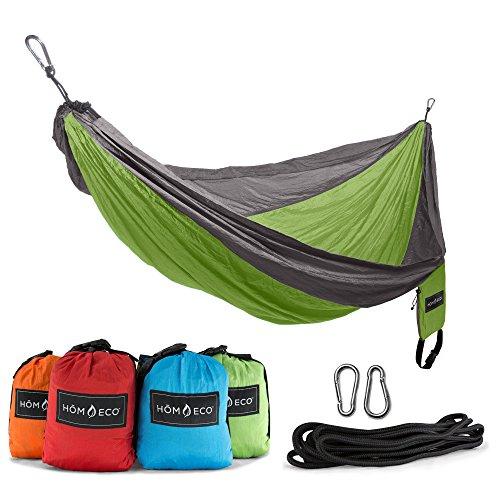 HŌMECO Double and Single Camping Hammock, Lightweight Nylon Parachute Travel Hammocks (Green, Single)