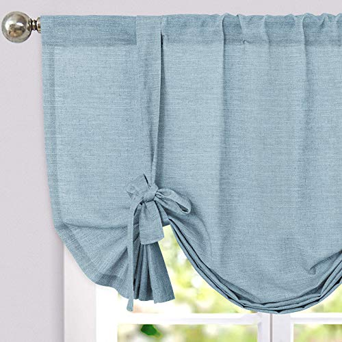 jinchan Tie Up Valance for Kitchen Room Linen Textured Adjustable Tie-up Curtain Light Filtering Rod Pocket Drapes 1 Panel 45 Inch Blue