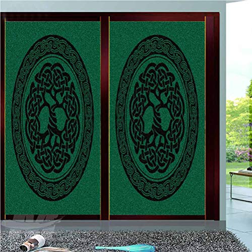 Celtic Decorative Window Film,Monochrome Tree of Life Illustration with Ancient Timeless European Motif Privacy Film Frosted Film Stained Film,23.6x36',for Home Kitchen Bedroom Bathroom Office