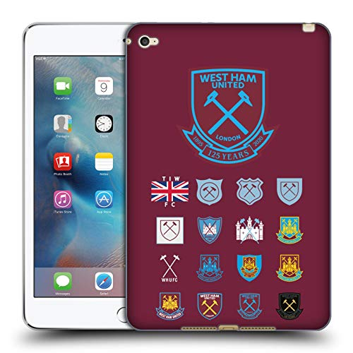 Head Case Designs Officially Licensed West Ham United FC Pattern 2 Crest History Soft Gel Case Compatible with Apple iPad Mini 4