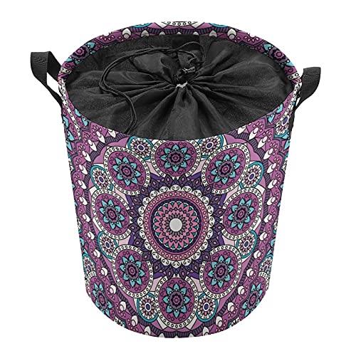 Cestas de lavandería, cesta de almacenamiento con asas, cesta de almacenamiento tejida para juguetes, almohadas, mantas, ropa, morado y redondo, mandala floral
