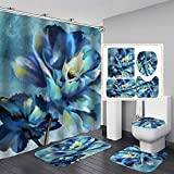4 PCS Blue Flower Shower Curtain Sets with Non-Slip Rugs and Toilet Lid Cover Colorful Purple Floral Watercolor Bath Decor Shower Curtains 72'x 72' with 12 Hooks Durable Waterproof for Bathroom