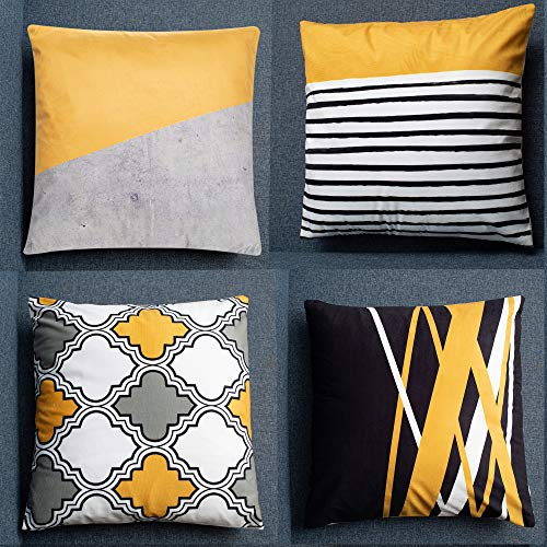 PEIQICHU Skin Velvet Soft Cushion Cover Set of 4, 18 x 18 Inch, 45 x 45cm Indoor, Throw Pillow Covers, for Bench Sofa Furniture, Yellow & Grey