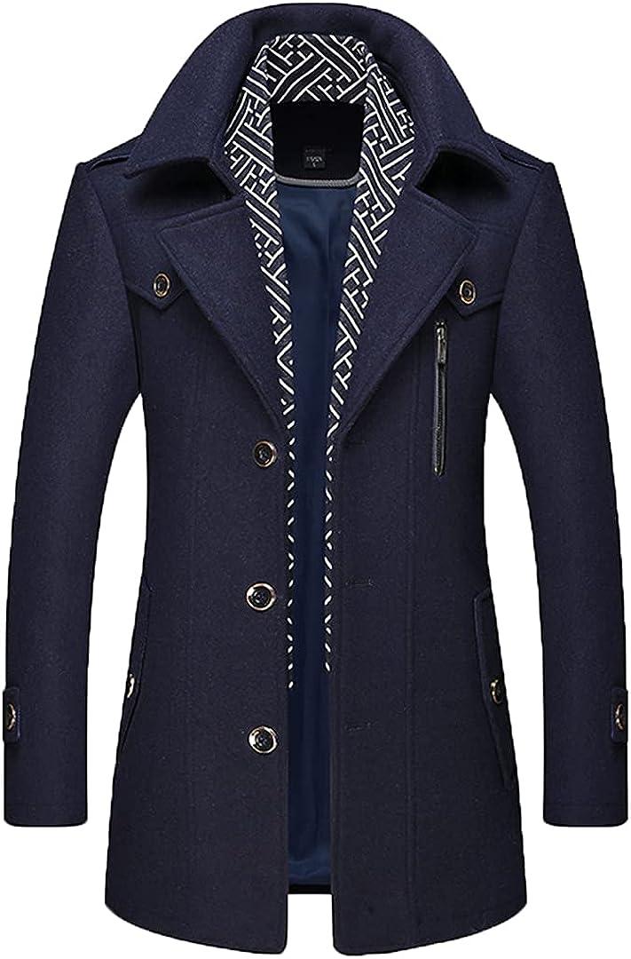 Men Coat Wool Overcoat Turn Collar Warm Coat Jackets Woolen Coats Blends Scarf Outwear Single Breasted