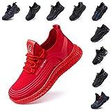 Zapatos de Seguridad Hombre Trabajo Comodos Mujer con Punta de Acero Ligeros Calzado de Industrial y Deportivos Transpirable Negro Rojo Número 36-48 EU Rojo 43