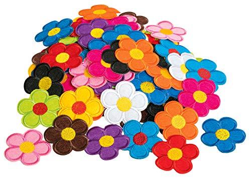 120 Bügelappikationen bunter Blütenmix viele Farben VBS Großhandelspackung