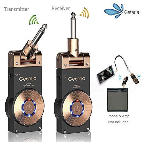Getaria Inalámbrico de Guitarra Sistema 2.4G Transmisor y