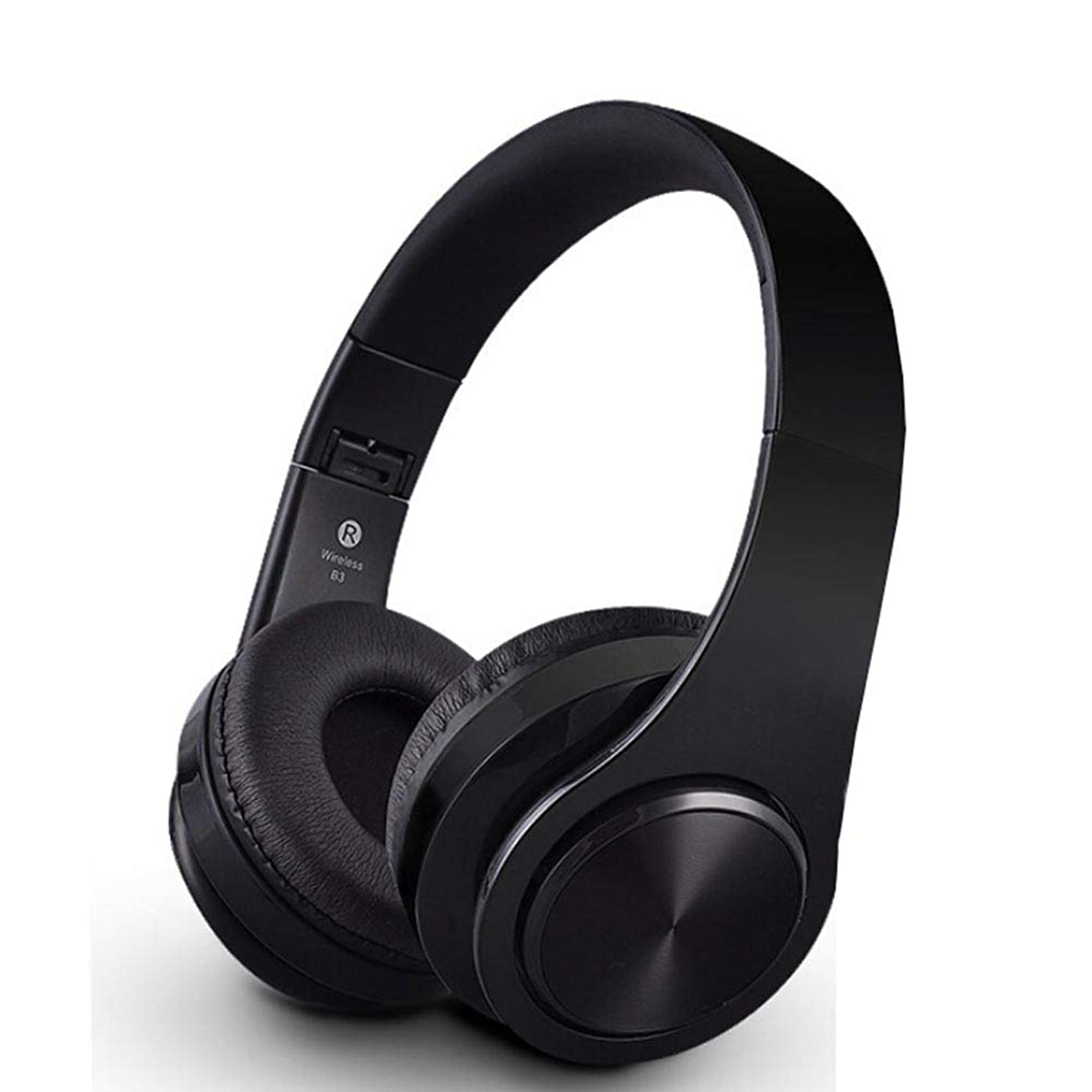 Wireless HiFi Bluetooth Headphones with 3.5mm Audio Cable - Foldable Stereo HD Noise Reduction Earphones - Super Bass Headset with SD Card Slot (Black)