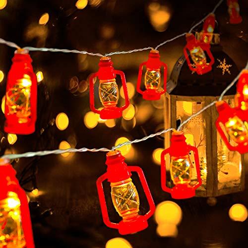 Red Kerosene String Lights for Camping, Bedroom, Living Room, Ramadan Decorations - 20 LED