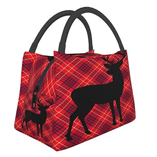 Bolsa Térmica,Bolsa de Almuerzo Térmic,Bolsa Isotérmica para Almuerzo,Scottish Terrier Cuadros Scotty Deer,Bolsa de almuerzo,Bolsa de Picnic Portátil para Trabajo y Colegio