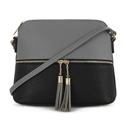 SG SUGU Lightweight Medium Dome Crossbody Bag with Tassel   Zipper Pocket   Adjustable Strap (Dark Gray/Black)