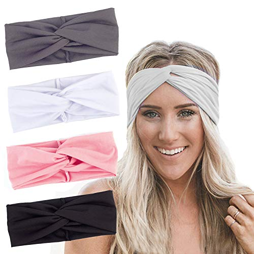 RIOSO Turban Headbands for Women Twisted Boho Headwrap Yoga Workout Sport Thick Head Bands4 pack