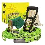 Macaco Slackline Kit completo, Unisex adulto, Slack Line 16m + línea de entrenamiento + protectores de árbol + instrucciones + bolsa de algodón para kit de cuerda tensora – Muy fácil instalación