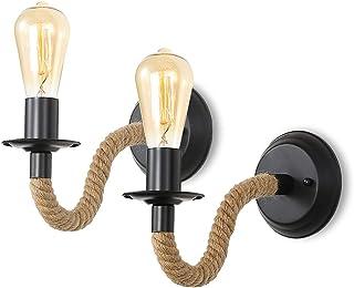 Comely 2 Pack Applique Murale Industrielle, Rétro Lampe Murale Corde de Chanvre, Interieur/Exterieur E27 Éclairage Mural M...