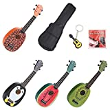 Longteam 21 Inch Cute Beginner Ukulele, Cartoon Fruit Wooden Soprano Ukuleles Perfect Gift for Kids (Cartoon Watermelon)
