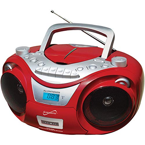 SuperSonic - Bluetooth Portable MP3/CD Player with USB/Aux Inputs, Cassette Recorder & AM/FM Radio, Boomboxes - Red (SC-739BT)