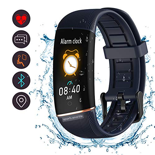 BYTTRON Fitness Tracker, wasserdichte Aktivitäts-Tracker-Uhr Mit Schrittzähler-Schrittzähleruhr Und Schlafmonitor Kalorienzähleruhr, Schlankes, Intelligentes Armband Für Frauen Männer (Blau)