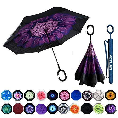 MRTLLOA Double Layer Inverted Umbrella with C-Shaped Handle, Anti-UV Waterproof Windproof Straight Umbrella for Car Rain Outdoor Use(Purple Flower)