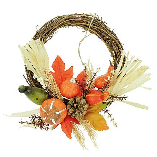 STEFANAZZI 1 Stück Durchmesser 30 cm Herbstkranz mit Kürbis und Ahornblatt, FAI aus Herbstblättern für Dekoration für Kürbis, Dekoration für Halloween und Herbstdeko