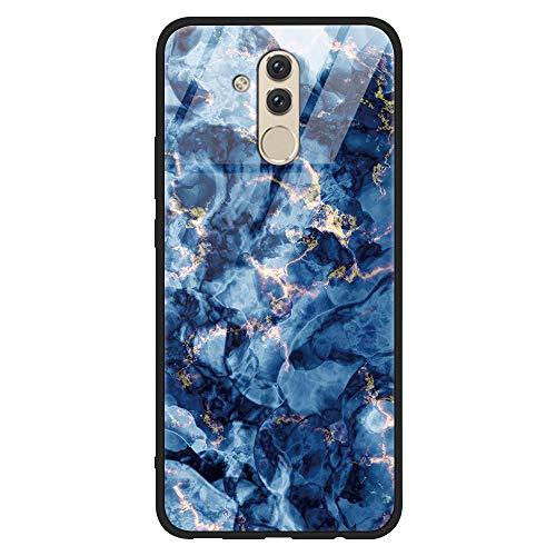 Yoedge Huawei Mate 20 Lite Hülle, Stoßfest Hybrid Schutzhülle [TPU Silikon + Glas Rückseite] mit Muster Motiv Handyhülle Kratzfeste Hardcase Rückschale Cover für Huawei Mate 20 Lite, Rock