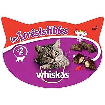 Whiskas Les Irrésistibles – Friandises au boeuf pour chat adulte, croquantes à l'extérieur et tendres à l'intérieur – 8 boîtes de 60g