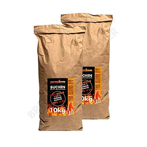 Holzkohle Buche für BBQ, Grillkohle groß, 20kg, Buchenholzkohle, Steakhouse Qualität, Premium, 2019 Ofen restauriert, Körnung: 30-130mm, Weber Grill geeignet, 2X 10kg Sack