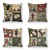 Pack of 4 Decorative Pillow Cover Retro Golf Course Style Durable Cotton Linen Burlap Square Throw Cushion Cover Cushion Case for Sofa Bedroom Car 18 x 18 Inch 45 x 45 cm