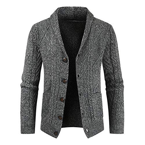 Jacke Herren Strickjacke Schalkragen Casual Top Fashion Elegante Strickjacke Spring and Autumn Herren Sweater Leichte Strickjacke Täglich Lässiges Top Gray. XL