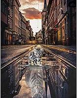 クロスステッチスタンプキット初心者刺繡キット-子供と大人のためのDIYニードルポイント手工芸品-面白いパターンデザイン-猫と虎16X20インチ