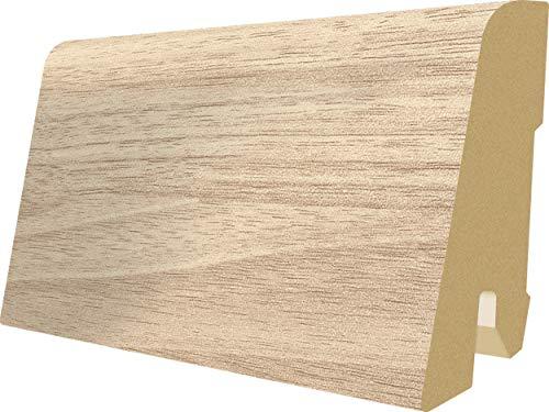 EGGER Home Sockelleiste weiß L144 Fußleiste | Bodenleiste 2,4m passt zu EHL024 Esche weiß