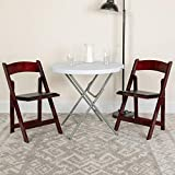 Flash Furniture 4 Pack HERCULES Series Mahogany Wood Folding Chair with Vinyl Padded Seat