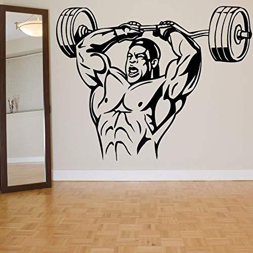Tianpengyuanshuai Muskulöse männliche Wandaufkleber Männer Stärke, um Bodybuilding-Fitnessstudio Dekoration Mobile Sport männliche Wandtattoos 63X49cm zu verbessern