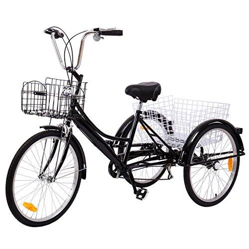 Ridgeyard Dreirad Für Erwachsene 24 Zoll 7 Geschwindigkeit 3 Rad Fahrrad Dreirad Pedal mit Warenkorb(Schwarz)