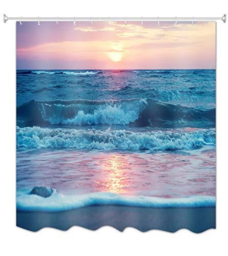 A.Monamour Duschvorhänge Strand Sonnenuntergang Himmel Blau Ozean Meer Natur Landschaft Bild Druck Wasserdicht Mouldproof Stoff Polyetser Nicht PVC Duschvorhang Für Bad Zubehör 180X200 cm / 72