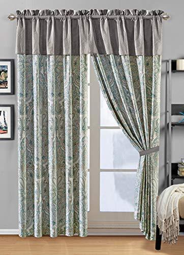 "Modern 4 - Piece Premium Velvet Curtain Set with Paisley Print. Drapes/Window Panels 116"" Wide X 84"" Tall in Blue/Light Grey"