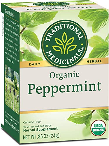 Traditional Medicinals Organic Peppermint Herbal Leaf Tea, Alleviates Digestive Discomfort, 16 Tea Bags (Pack of 6)