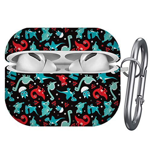 Silhouette Dino Print Compatible with AirPods 2 and 1 Shockproof Soft TPU Gel Case Cover with Keychain Carabiner for Apple AirPods