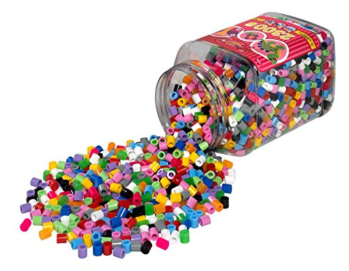 Hama Perlen 8586 Bügelperlen Dose mit ca. 2.300 bunten Maxi Bastelperlen mit Durchmesser 10 mm bunter Mix, kreativer Bastelspaß für Groß und Klein