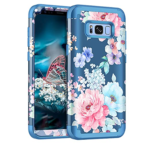 Rancase for Galaxy S8 Plus Case,Three Layer Heavy Duty Shockproof Protection Hard Plastic Bumper +Soft Silicone Rubber Protective Case for Samsung Galaxy S8 Plus,Flower