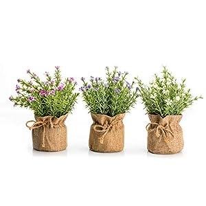 Velener Mini Artificial Baby's-Breath Flower in Linen Pot for Home Decor (3 in 1)