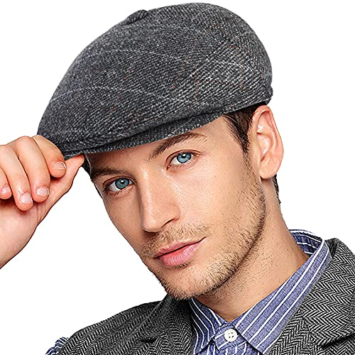Wantonfy Gorro plano para hombre con orejeras de noticiario boina sombrero de pato hiedra sombrero de invierno taxista irlands Gatsby Tweed, Cuadrado gris., M