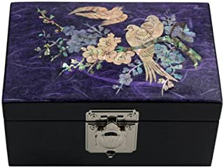 Mother of Pearl Bird and Flower Design Purple Wooden Jewelry Mirror Trinket Keepsake Treasure Lacquer Box Case Chest Organizer