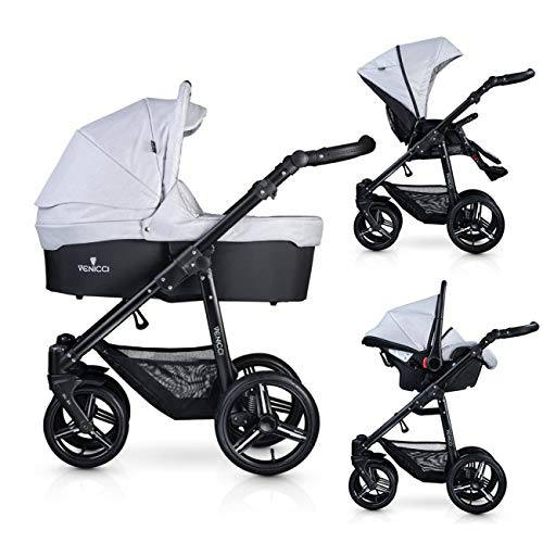 Venicci Soft Vento 3-in-1 Travel System – Light Grey/Black - with Carrycot + Car Seat + Changing Bag + Footmuff + Raincover + Mosquito Net + 5-Point Harness and UV 50+ Fabric + Car Seat Adapters